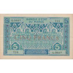 Billet - 5 Francs - 1924 - Maroc
