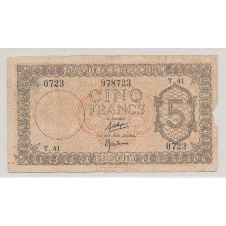Billet - 5 Francs - ND 1945 - Djibouti - Banque de l'Indochine