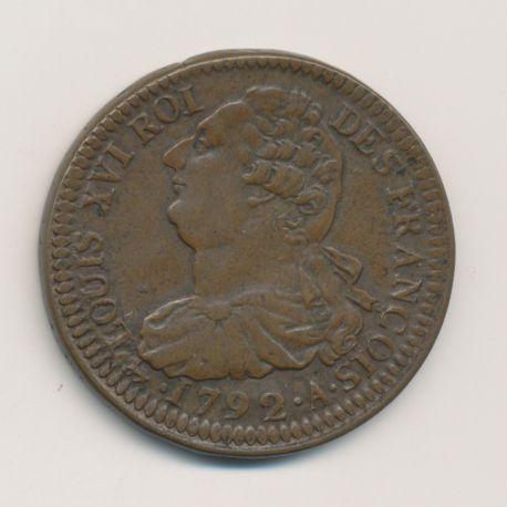Louis XVI - 2 Sols 1792 A Paris - frappe large - bronze