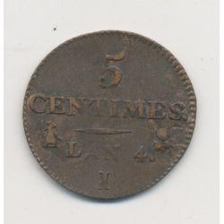 5 Centimes Dupré - Petit module - AN 4 I Limoges