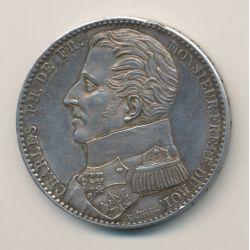 Monnaie de visite - Module 5 francs - Charles philippe - 1818 - argent