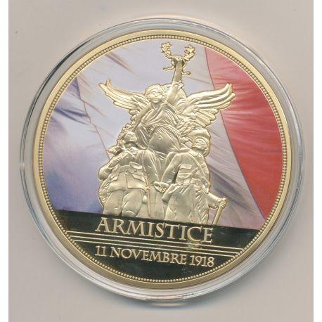 Médaille - Armistice 11 Novembre 1918 - Centenaire Première guerre mondiale - 1914-1918 - couleur - 70mm