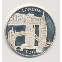 Libéria - 20 Dollars 2000 - London/Londres - argent BE