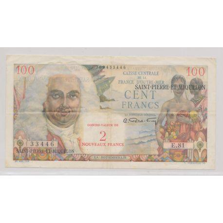 Billet - St pierre et Miquelon - 2NF sur 100 Francs - La Bourdonnais - ND1960