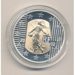 Merci le franc - 5 Euro - 2002 - or et argent