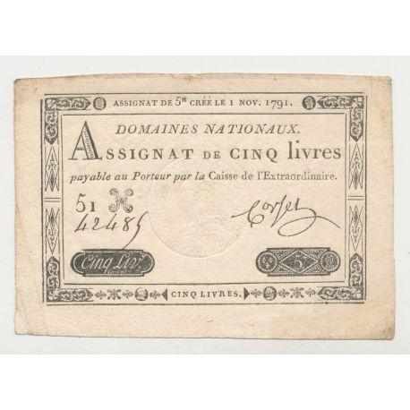 Assignat - 5 Livres - 1 Novembre 1791