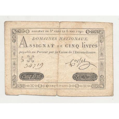 Assignat - 5 Livres - 6 Mai 1791