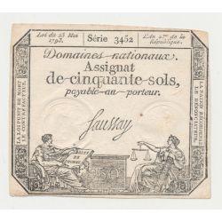 Assignat - 50 Sols - 23 mai 1793 - série 3452