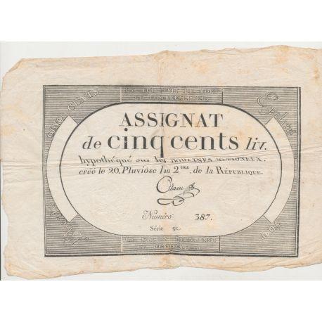 Assignat - 500 Livres - 8 Février 1794