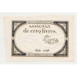 Assignat - 5 Livres - 31 Octobre 1793