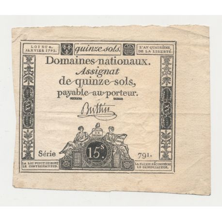 Assignat - 15 Sols - 4 Janvier 1792