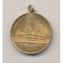 Médaille - Inauguration hôtel de ville - 13 et 14 juillet 1882 - Souvenir fête nationale 1882