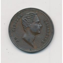 Médaille - Hommage à Lamartine - 1848 - 2e République - cuivre