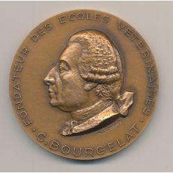 Médaille - Fondateur écoles vétérinaires - C.Bourgelat - bronze - 1967