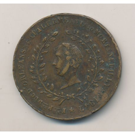 Médaille - Mort de Ferdinand philippe Duc d'Orléans - 1842 - cuivre