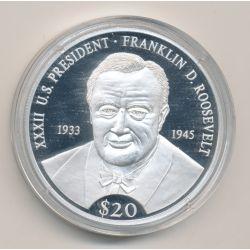 Libéria - 20 Dollars 2000 - Roosevelt - argent BE