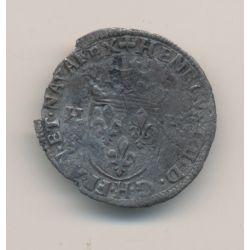 Henri IV - Douzain aux 2H - 1591 H La Rochelle