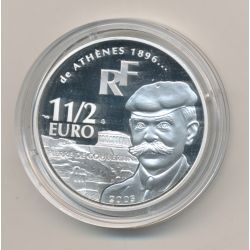 1 1/2 Euro - Coubertin- 2003 - argent BE - Paris 2003