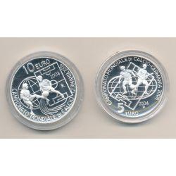 St Marin - Coffret 2 monnaies - 5 et 10 Euro 2004 - Coupe du monde football 2006 - argent