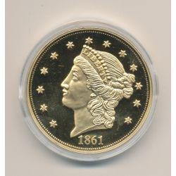 Médaille - reproduction 20 Dollars - 1861 - cuivre doré