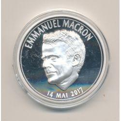 Médaille - Emmanuel Macron - Président de la République - portrait sur la gauche