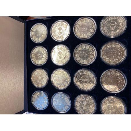 Coffret 16 Médailles - Ecu Europa - 1980 à 1995 - en argentan