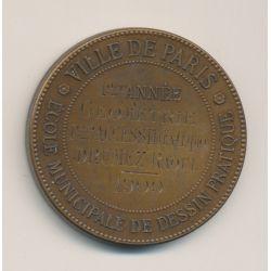 Médaille - Ville de paris - École de dessin - 1ère année géométrie - 1909 - bronze