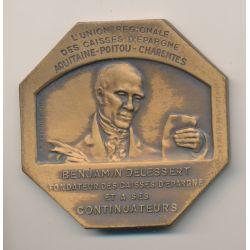 Médaille - Caisse d'épargne -Aquitaine et Poitou charente - Benjamin Delessert - bronze - R.Gregoire