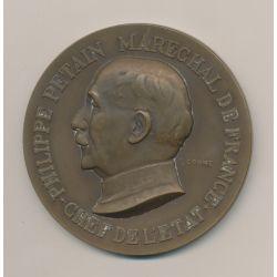 Médaille - Philippe Pétain Maréchal de France - Travail famille patrie - bronze - F.Cogné
