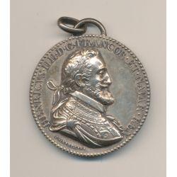 Médaille - Henri IV - Unification des deux royaumes - 1598 refrappe moderne - bronze argenté