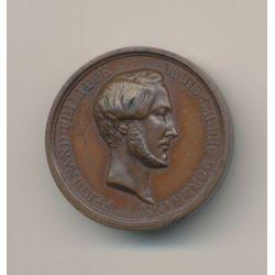 Médaille - Ferdinand Philippe - Duc d'Orléans - 1843 - cuivre - 26mm