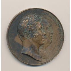 Médaille - Statue équestre Louis XIV - Buste Louis XVIII et Charles X - 1825 - cuivre - 50mm