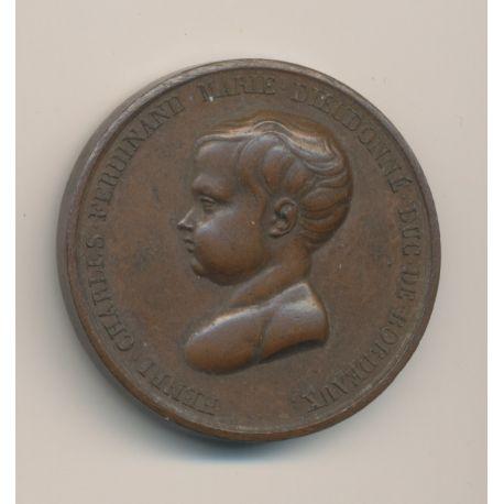 Médaille - Baptème duc de bordeaux - 1821 - cuivre - 38mm