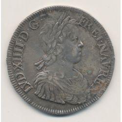 Louis XIV - Écu à la mèche longue - 1647 H La Rochelle