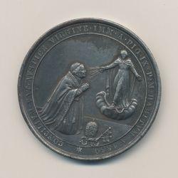 Médaille - Pi IX devant la vierge - Concile oecumenique - St pierre avec 2 rois et 2 évêques