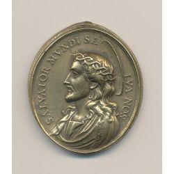 Médaille - Jésus Christ et vierge marie - bronze