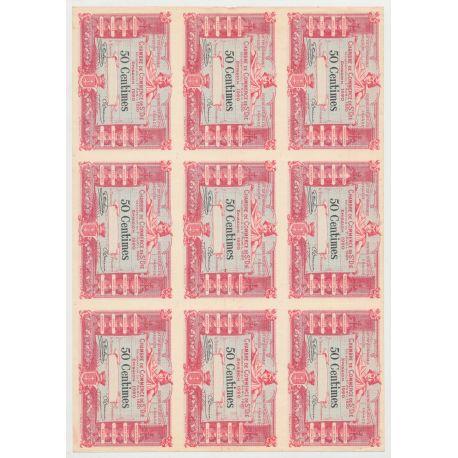 Planche 9 Billets nécessites - 50 Centimes 1920 - St Dié