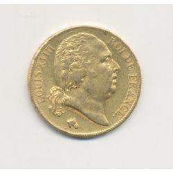 Louis XVIII - 20 Francs Or - 1818 A Paris - Buste nu