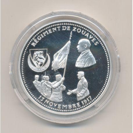 Médaille - Régiment de zouaves - 13 novembre 1917 - 100e anniversaire de la grande guerre - argent