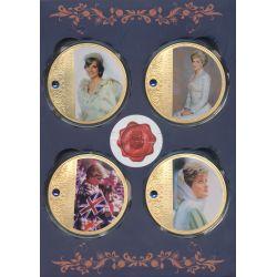 Médaille - Liberté - Coffret 4 Médailles - Collection Lady Diana - couleur et insert swarovski - 70mm