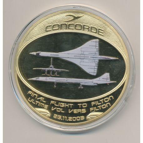 Médaille Concorde - Dernier Vol vers Filton - cuivre doré et colorisé - 70mm