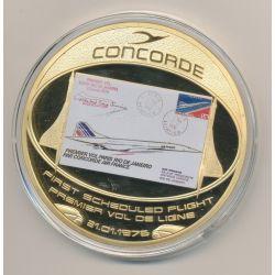 Médaille Concorde - Premier vol de ligne - cuivre doré et colorisé - 70mm