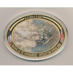 Médaille ovale - Opération Overlord - Collection 70e anniversaire débarquement en normandie - cuivre doré - 85mm x 62mm