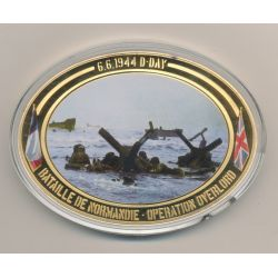 Médaille D-Day - Opération Overlord N°4 - Collection 70e anniversaire débarquement en normandie - cuivre doré - 85mm x 62mm