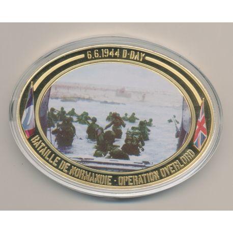 Médaille D-Day - Opération Overlord N°5 - Collection 70e anniversaire débarquement en normandie - cuivre doré - 85mm x 62mm