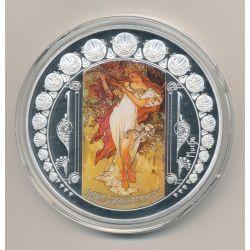 Médaille 70mm - Mucha Printemps - Collection Mucha - Les 4 Saisons - cuivre argenté et colorisé