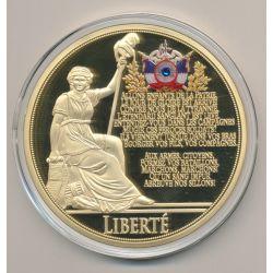 Médaille - Liberté - Collection Liberté égalité fraternité - couleur et insert swarovski - 70mm