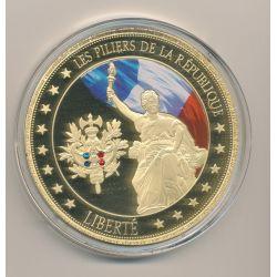 Médaille - Liberté - Les Piliers de la république - couleur et insert swarovski - 70mm