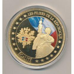 Médaille - Égalité - Les Piliers de la république - couleur et insert swarovski - 70mm