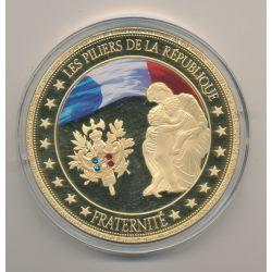Médaille - Fraternité - Les Piliers de la république - couleur et insert swarovski - 70mm